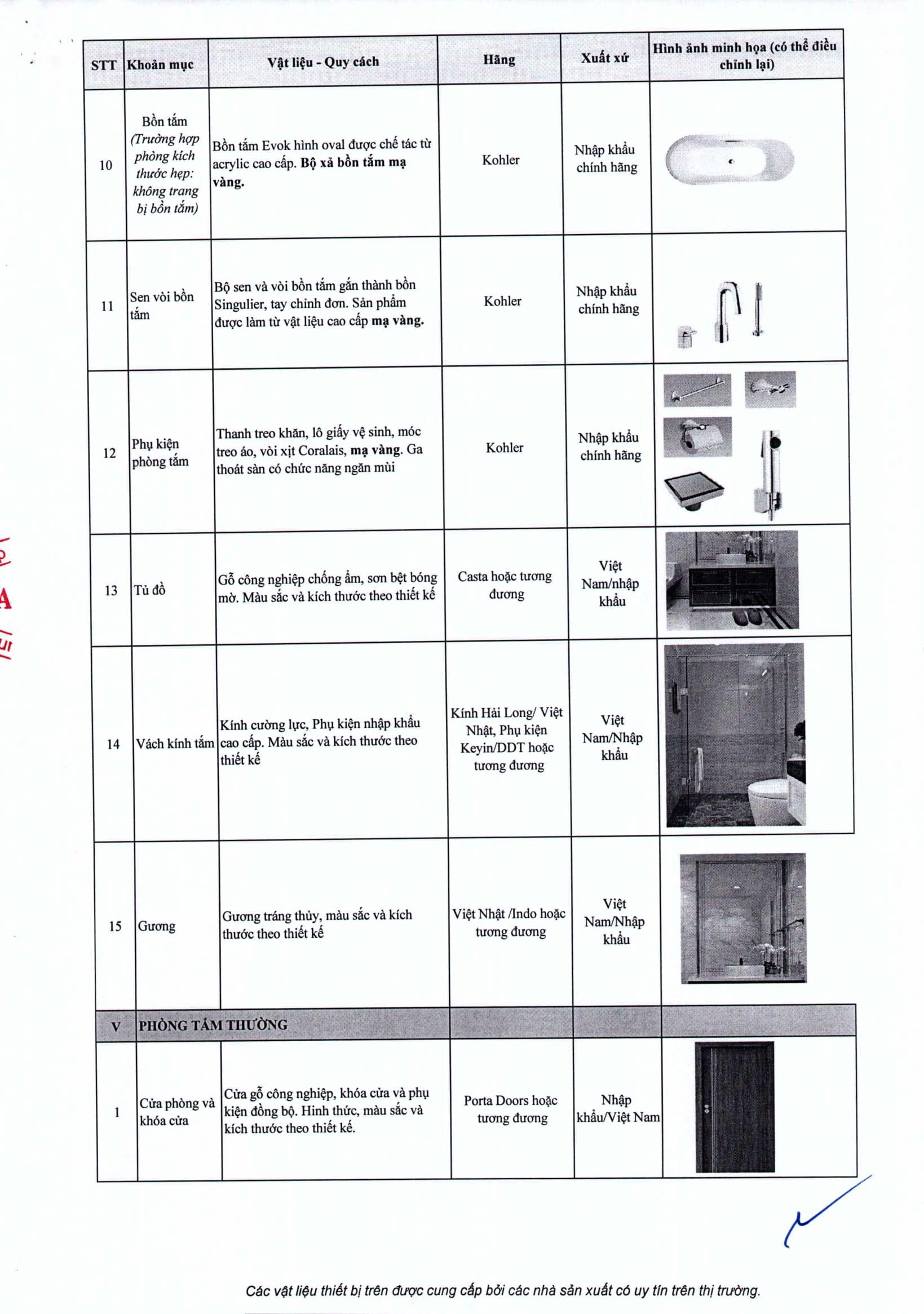 Danh mục vật liệu và trang thiết bị bên trong căn hộ Sunshine City-5